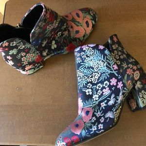 Vince Camuto Fabric Floral Ankle Boots